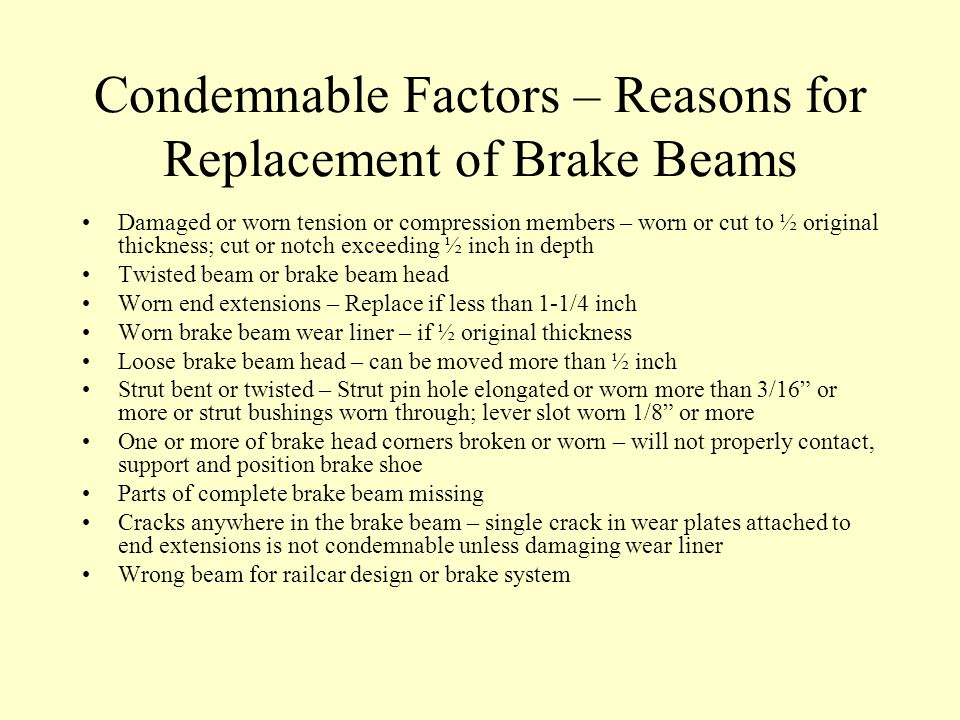 Condemnable Factors – Reasons for Replacement of Brake Beams