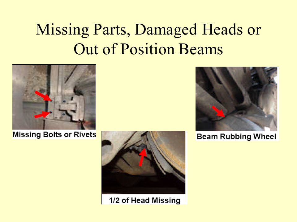 Missing Parts, Damaged Heads or Out of Position Beams