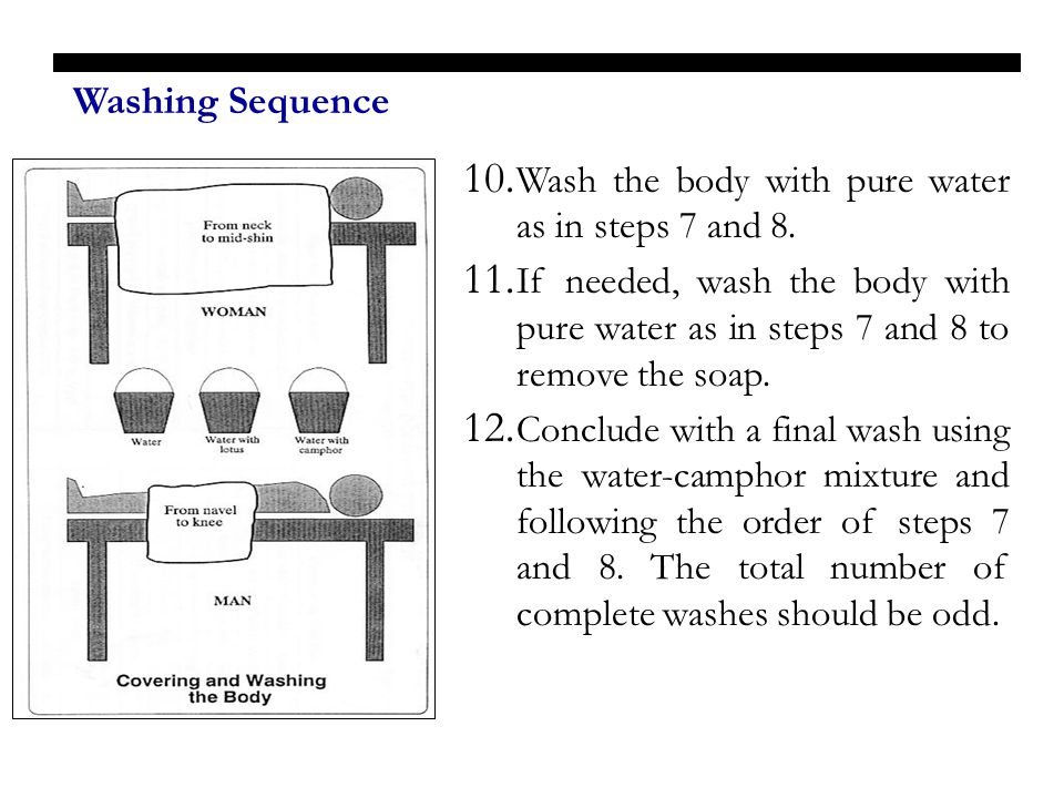Washing Sequence Wash the body with pure water as in steps 7 and 8.