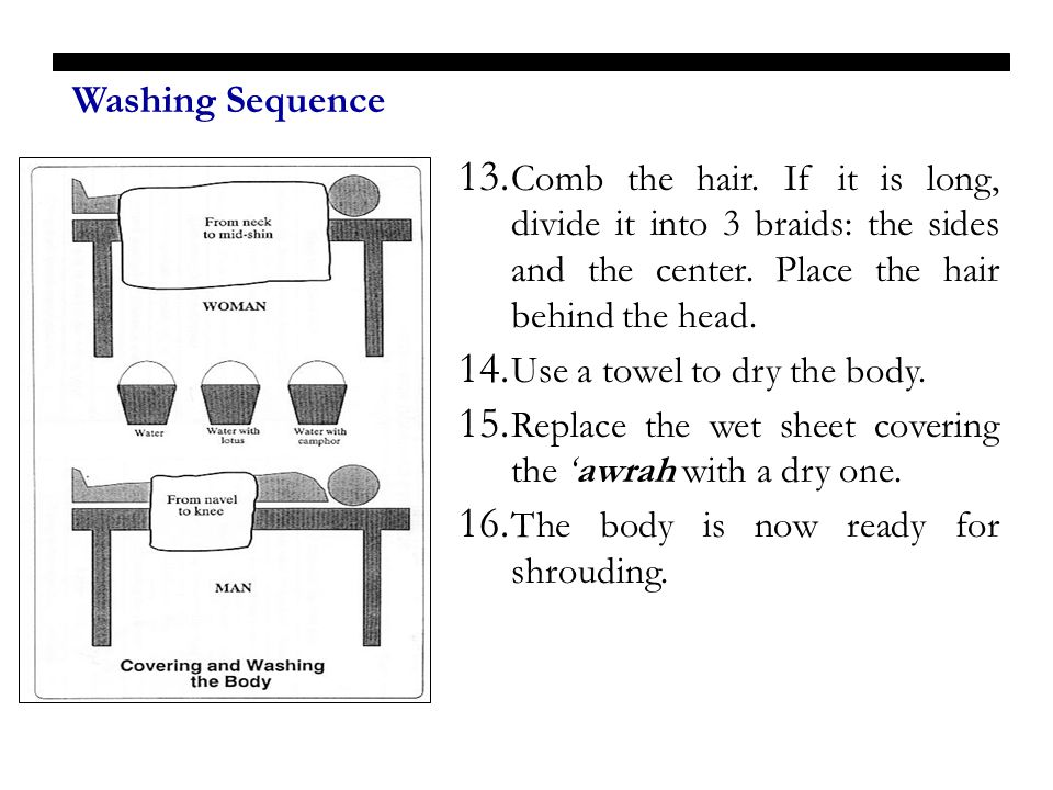 Washing Sequence Comb the hair. If it is long, divide it into 3 braids: the sides and the center. Place the hair behind the head.