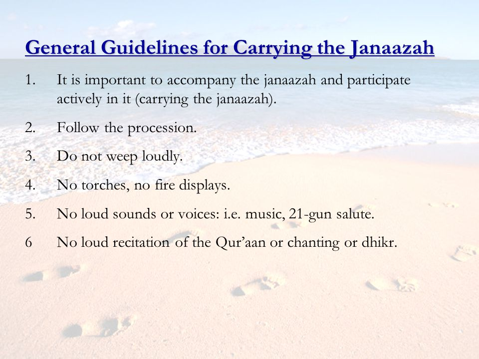 General Guidelines for Carrying the Janaazah
