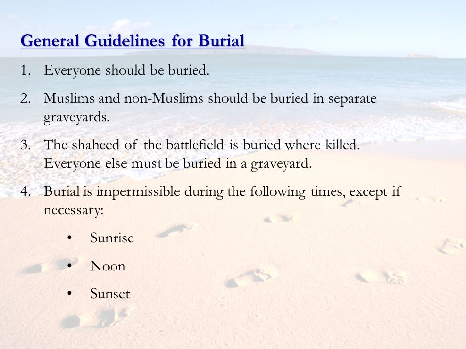General Guidelines for Burial