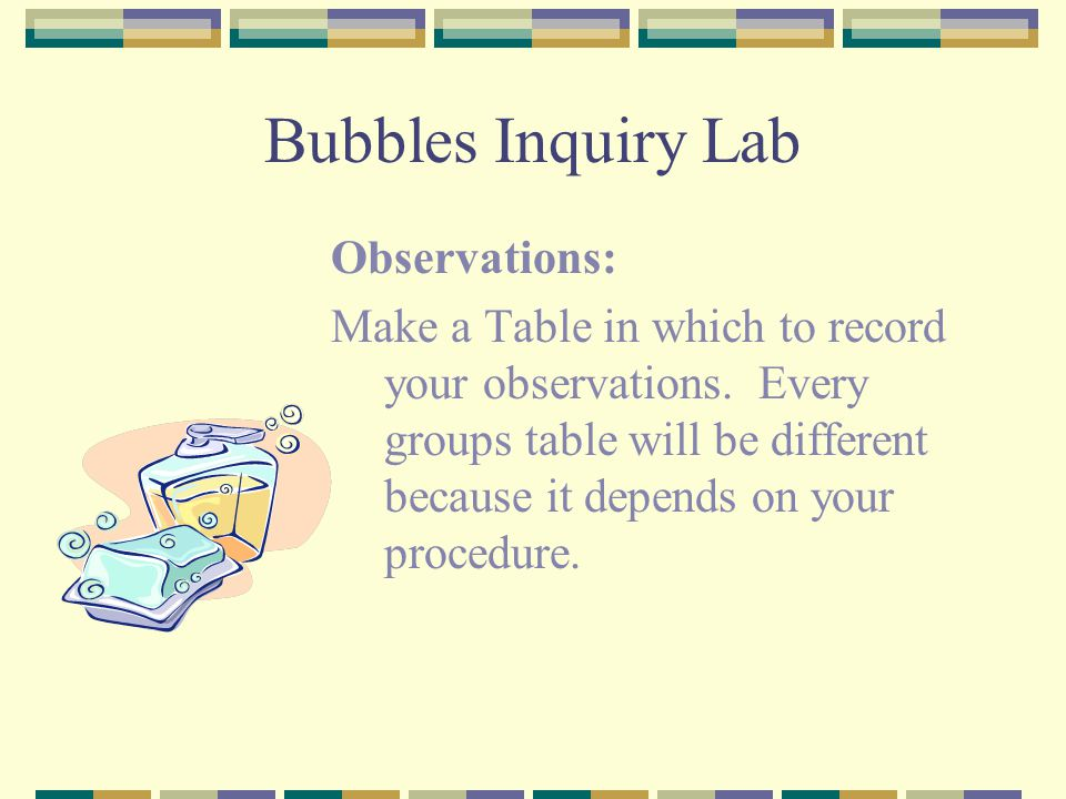 Bubbles Inquiry Lab Observations: