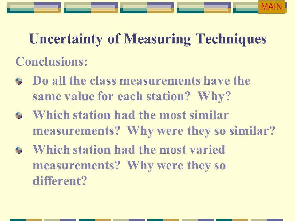 Uncertainty of Measuring Techniques