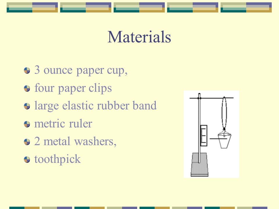 Materials 3 ounce paper cup, four paper clips