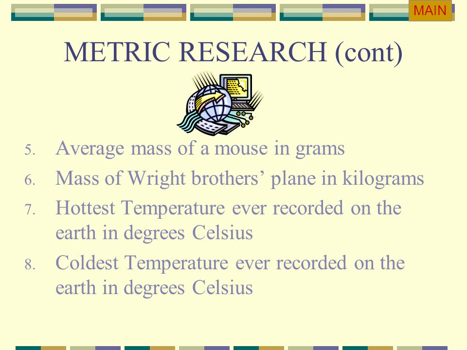 METRIC RESEARCH (cont)