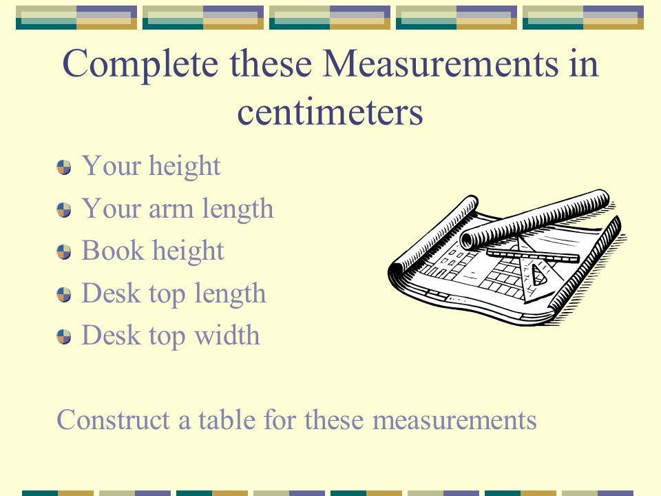 Complete these Measurements in centimeters