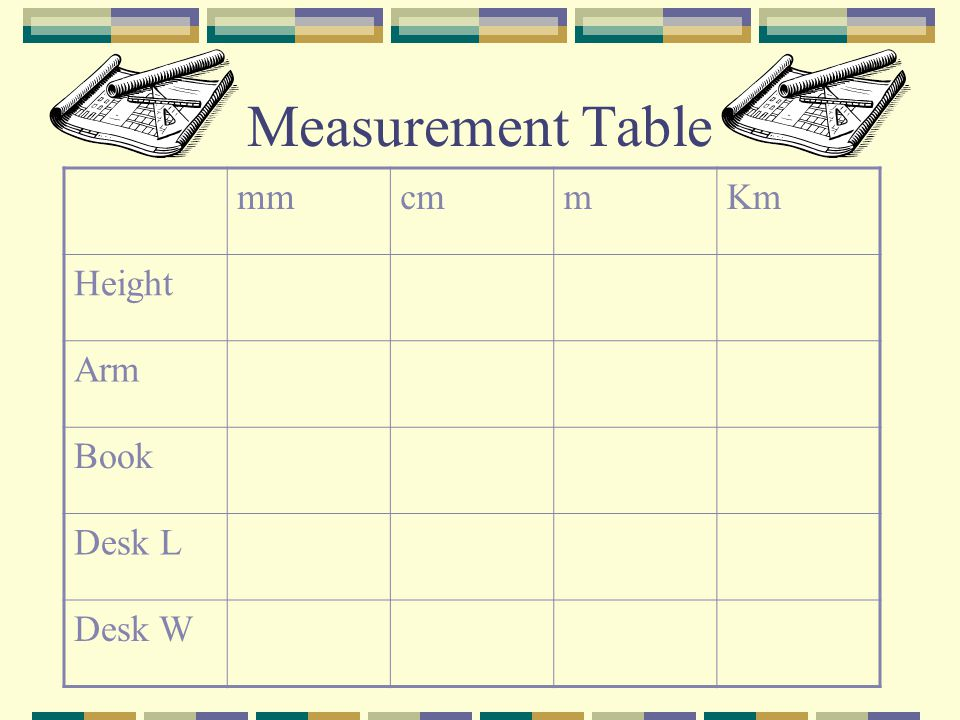 Measurement Table mm cm m Km Height Arm Book Desk L Desk W
