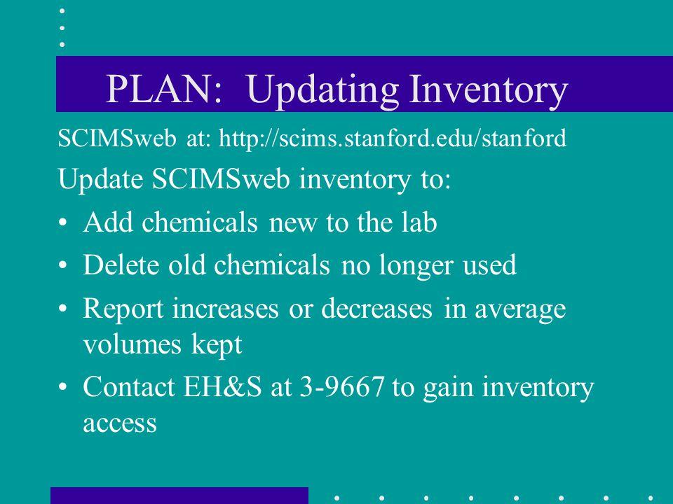 PLAN: Updating Inventory