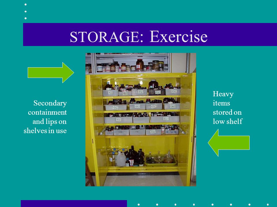 STORAGE: Exercise Heavy items stored on low shelf