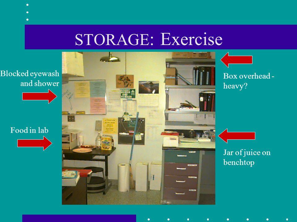 STORAGE: Exercise Blocked eyewash and shower Box overhead - heavy