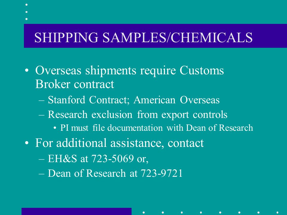 SHIPPING SAMPLES/CHEMICALS