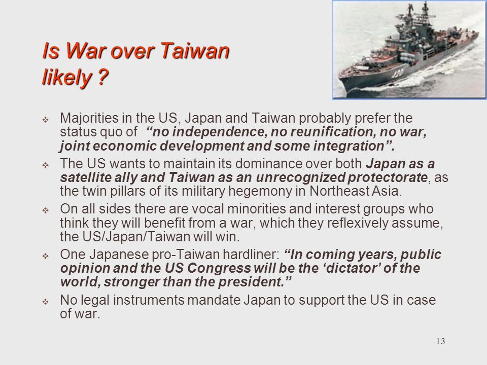 Is War over Taiwan likely
