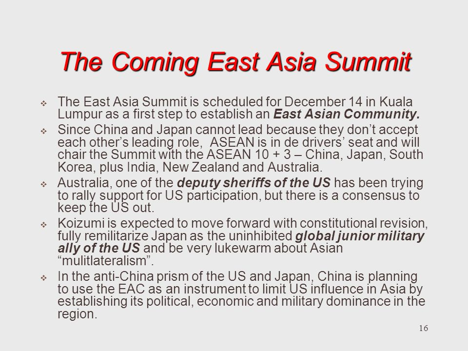 The Coming East Asia Summit