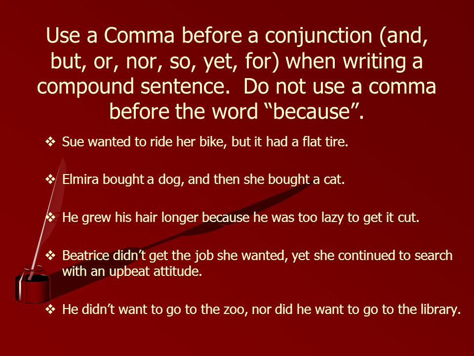 do you use a comma before because