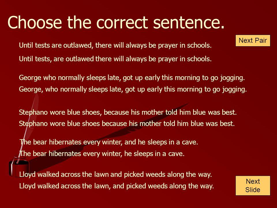 Choose the correct sentence.