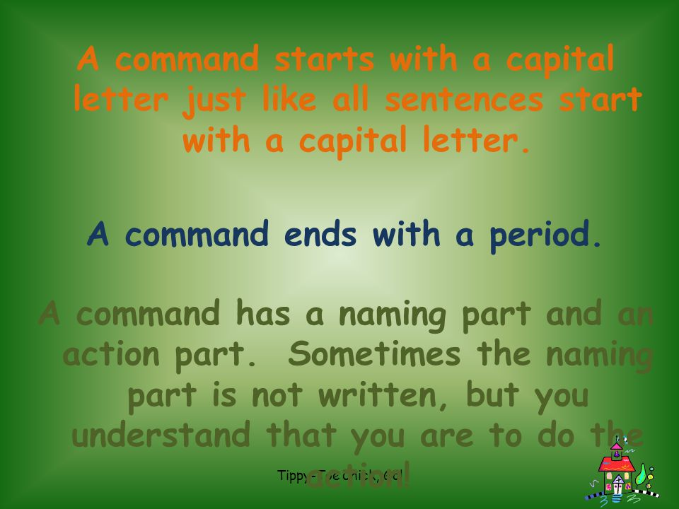A command ends with a period.