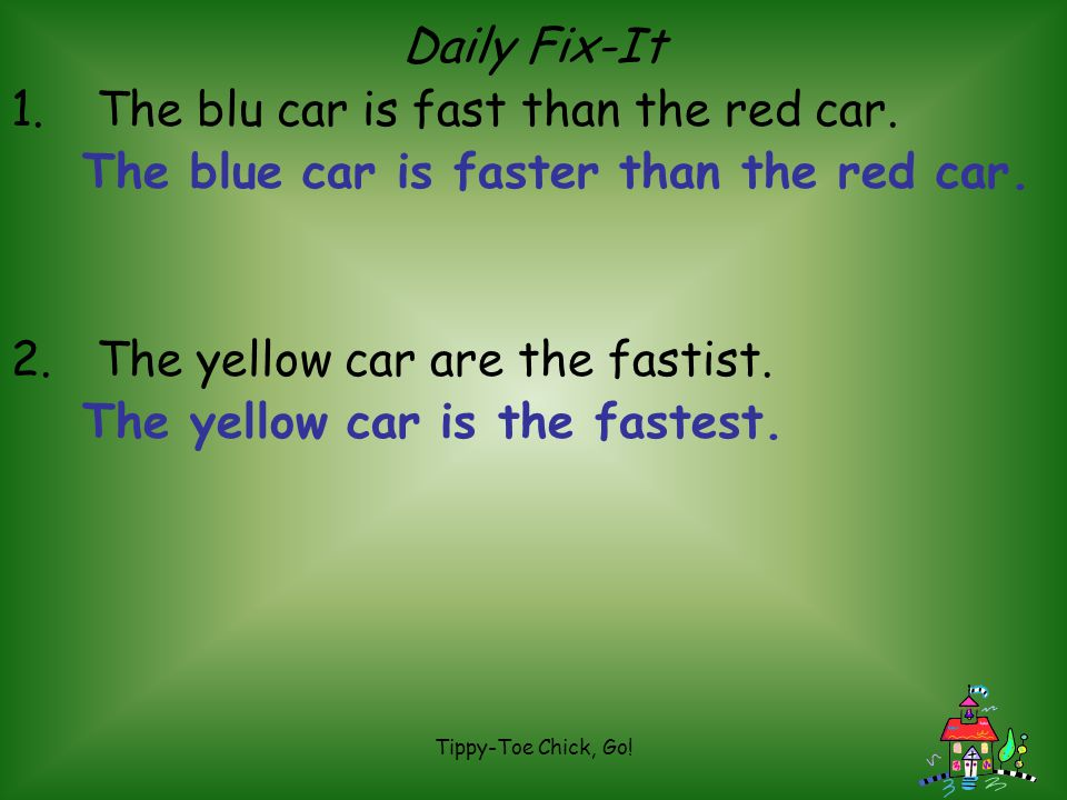 The blu car is fast than the red car.