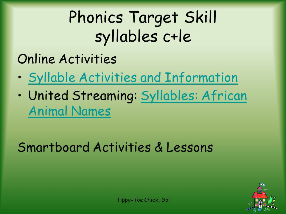 Phonics Target Skill syllables c+le