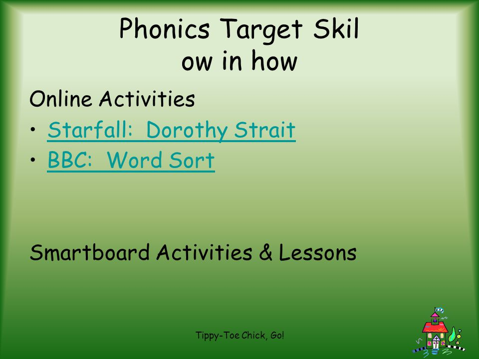 Phonics Target Skil ow in how