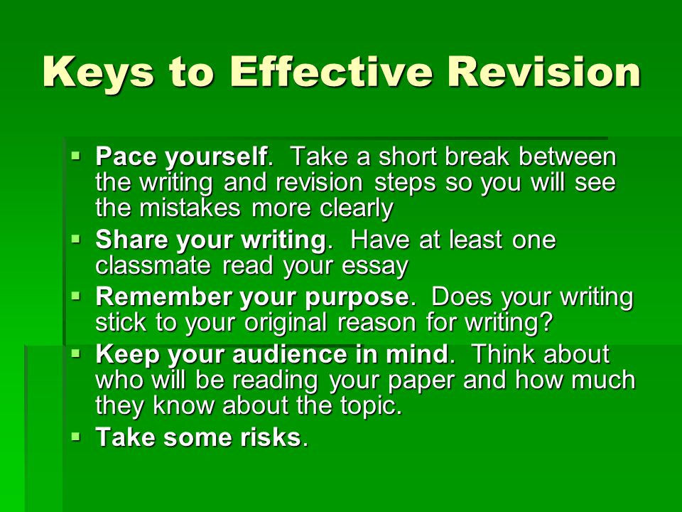 Keys to Effective Revision