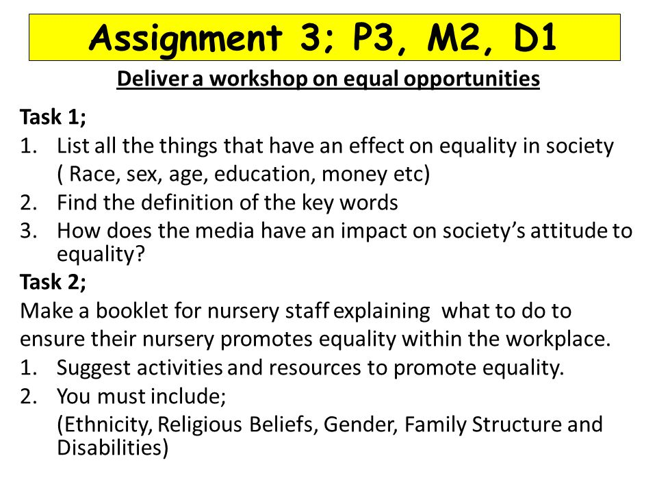 Deliver a workshop on equal opportunities