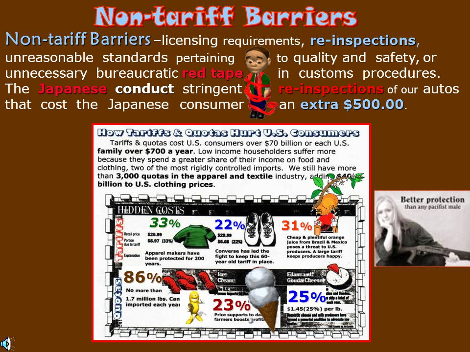 Non-tariff Barriers Non-tariff Barriers –licensing requirements, re-inspections,