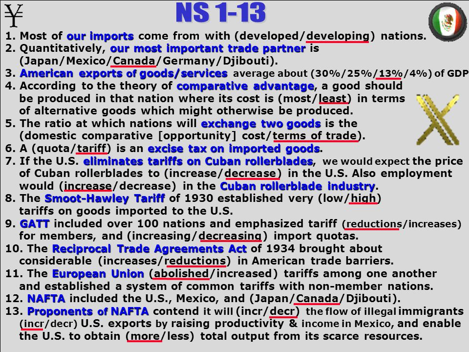 1. Most of our imports come from with (developed/developing) nations.