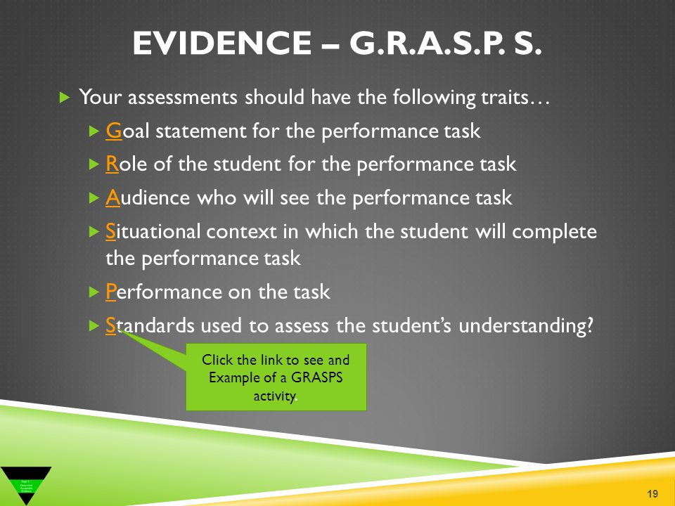 Click the link to see and Example of a GRASPS activity.