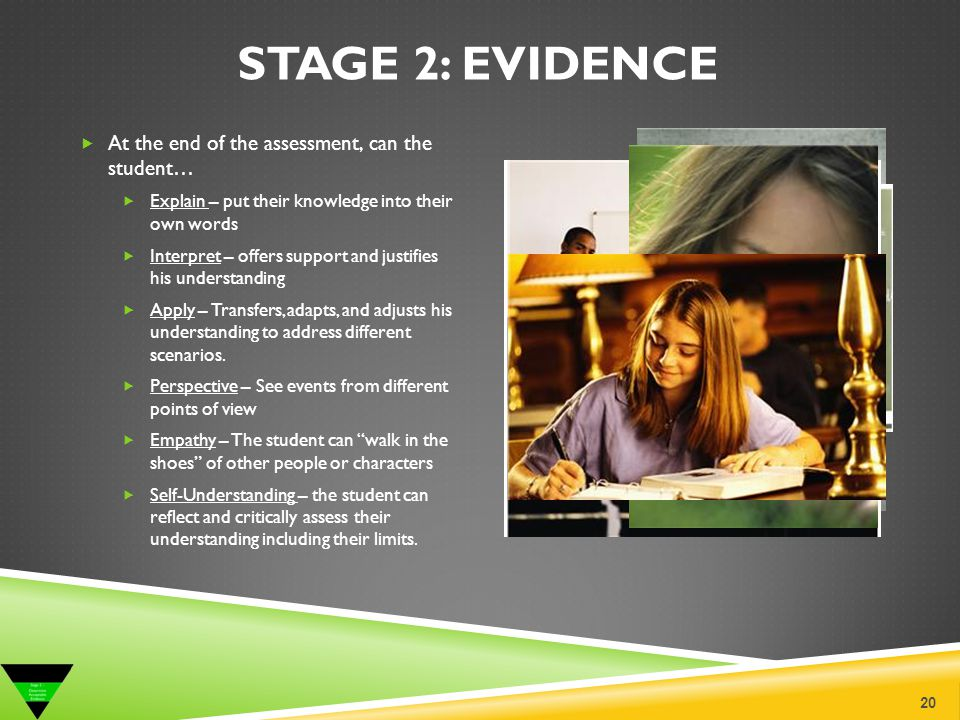 Stage 2: Evidence At the end of the assessment, can the student…