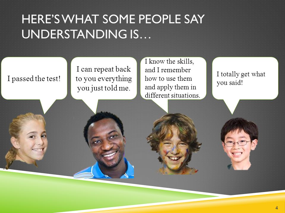 Here's what some people say Understanding is…