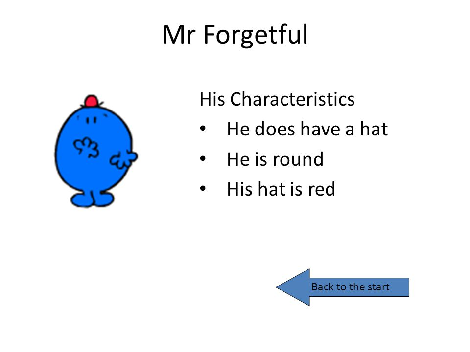 Mr Forgetful His Characteristics He does have a hat He is round