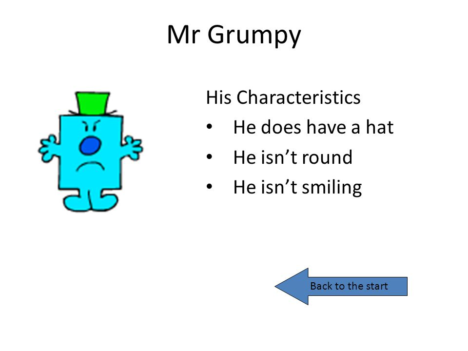 Mr Grumpy His Characteristics He does have a hat He isn't round
