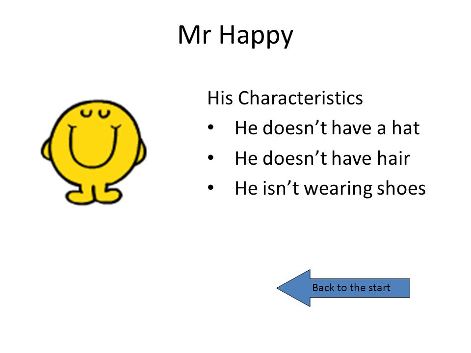 Mr Happy His Characteristics He doesn't have a hat