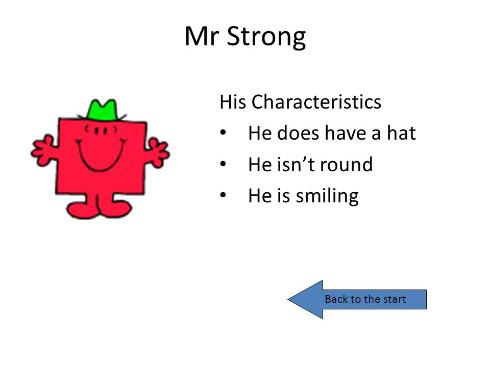 Mr Strong His Characteristics He does have a hat He isn't round