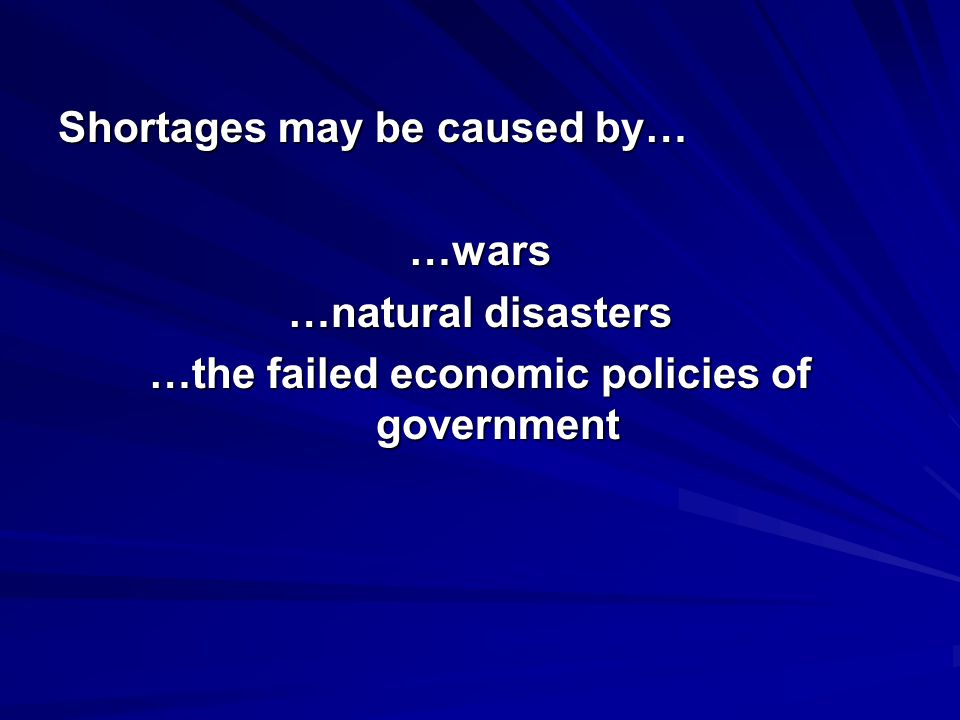 …the failed economic policies of government