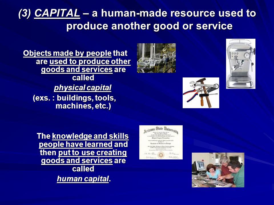 (exs. : buildings, tools, machines, etc.)