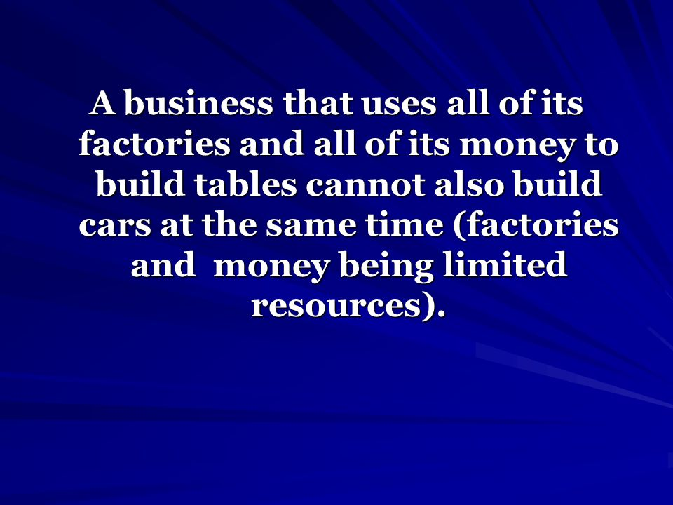 A business that uses all of its factories and all of its money to build tables cannot also build cars at the same time (factories and money being limited resources).