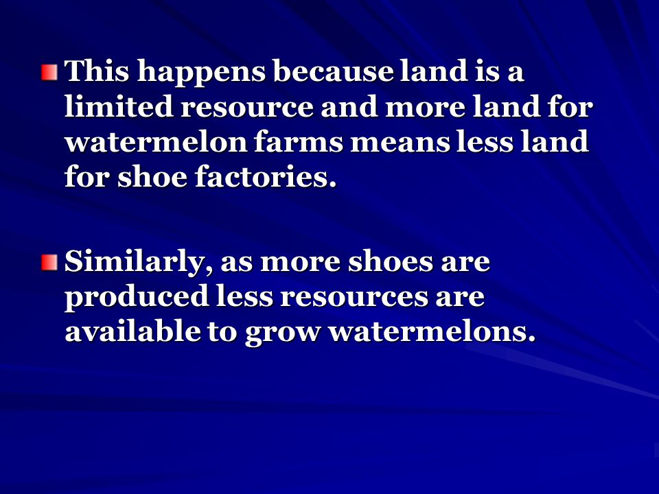 This happens because land is a limited resource and more land for watermelon farms means less land for shoe factories.