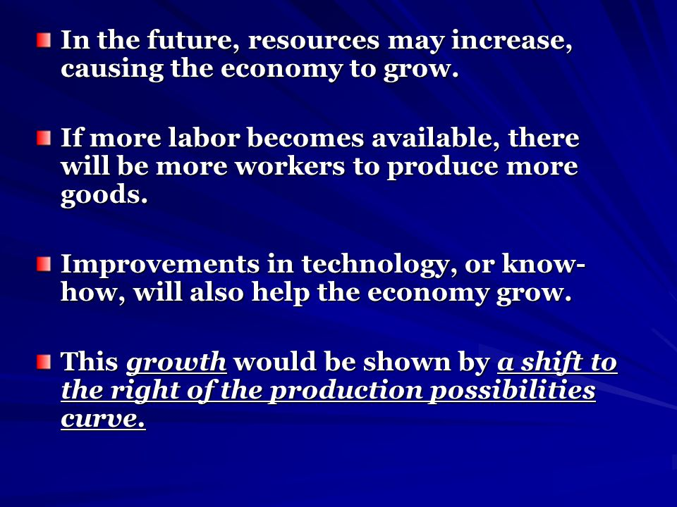 In the future, resources may increase, causing the economy to grow.