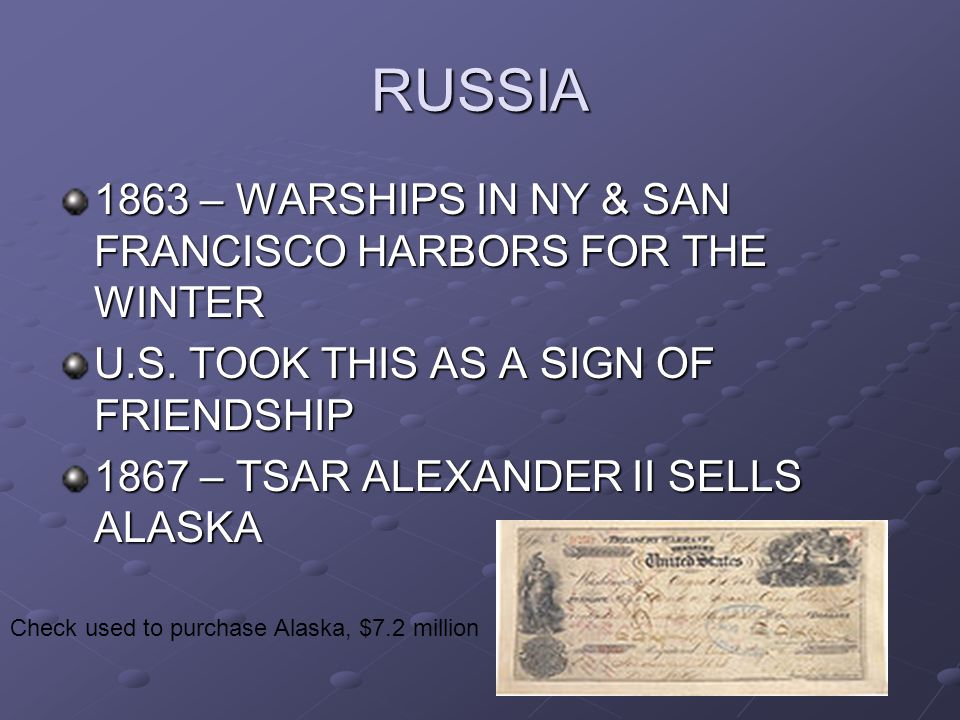 RUSSIA 1863 – WARSHIPS IN NY & SAN FRANCISCO HARBORS FOR THE WINTER