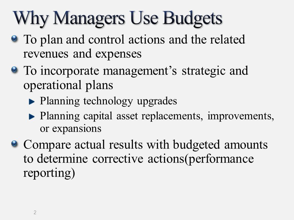 Why Managers Use Budgets
