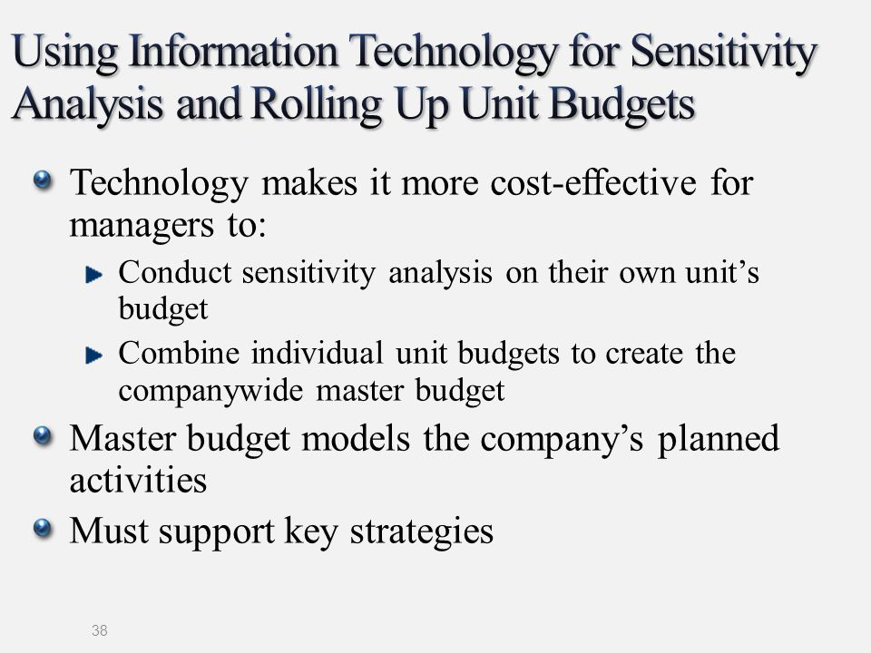 Using Information Technology for Sensitivity Analysis and Rolling Up Unit Budgets