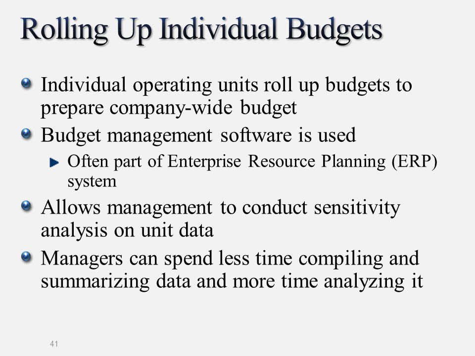 Rolling Up Individual Budgets