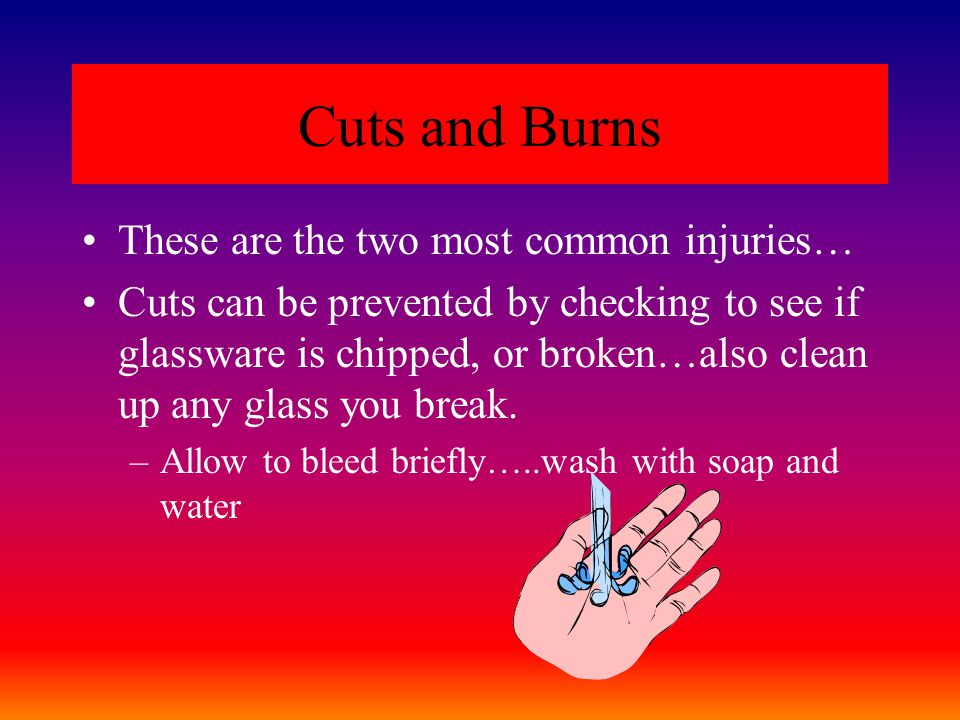 Cuts and Burns These are the two most common injuries…