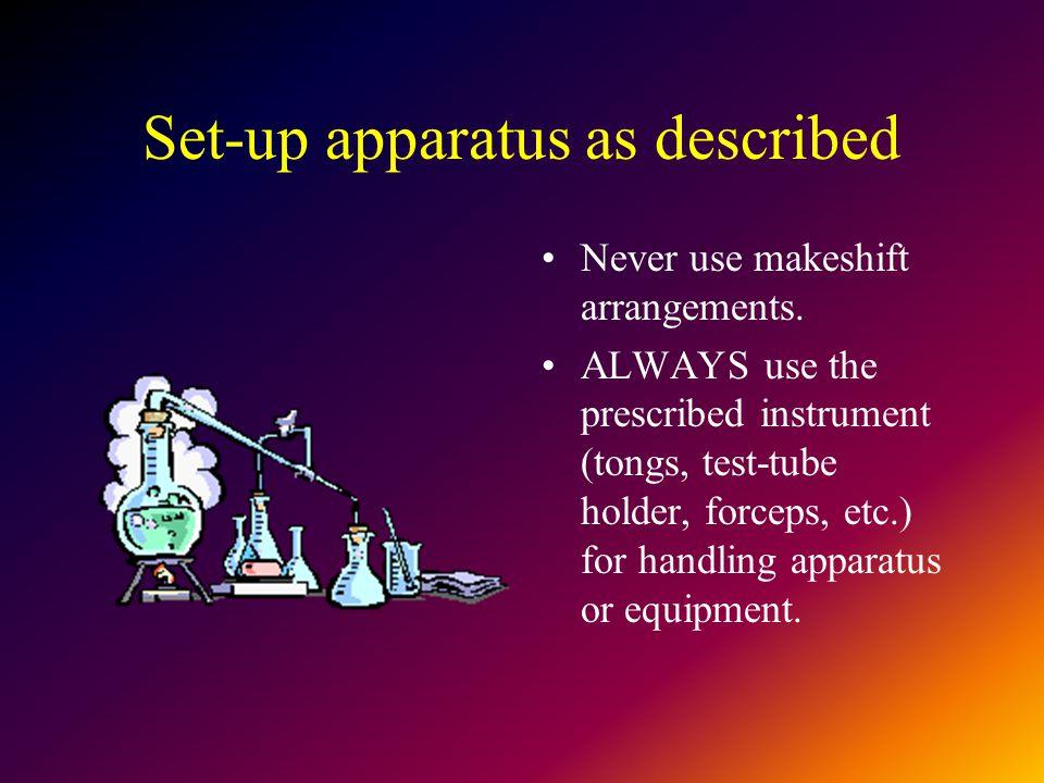 Set-up apparatus as described