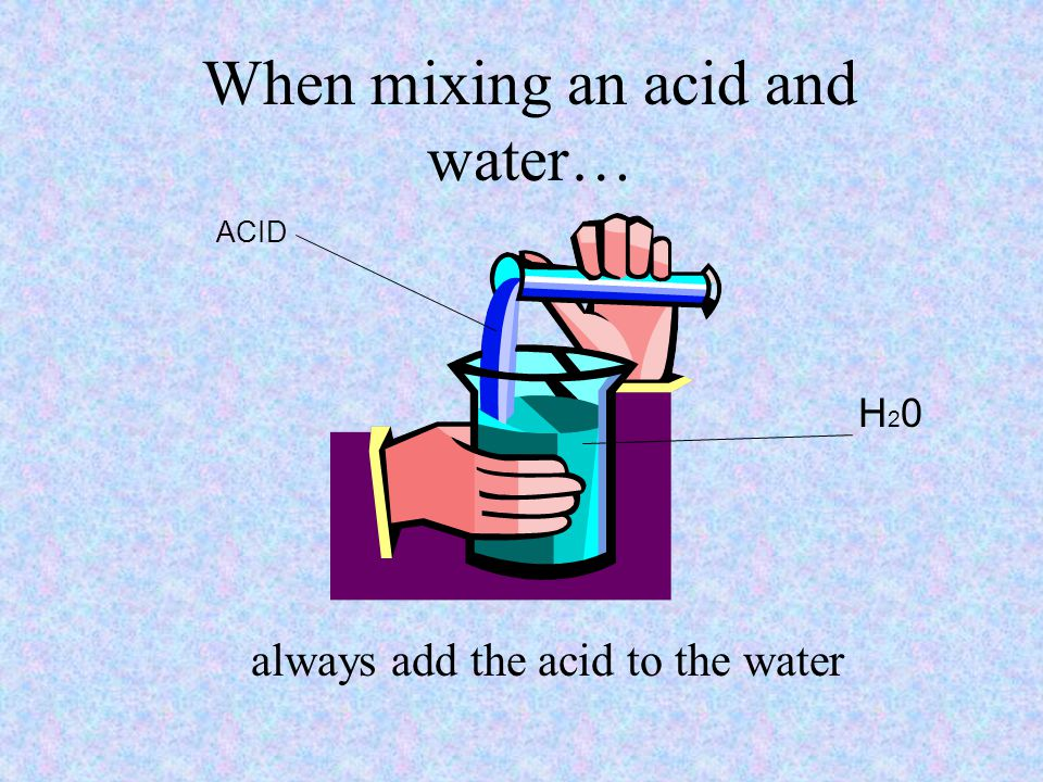 When mixing an acid and water…