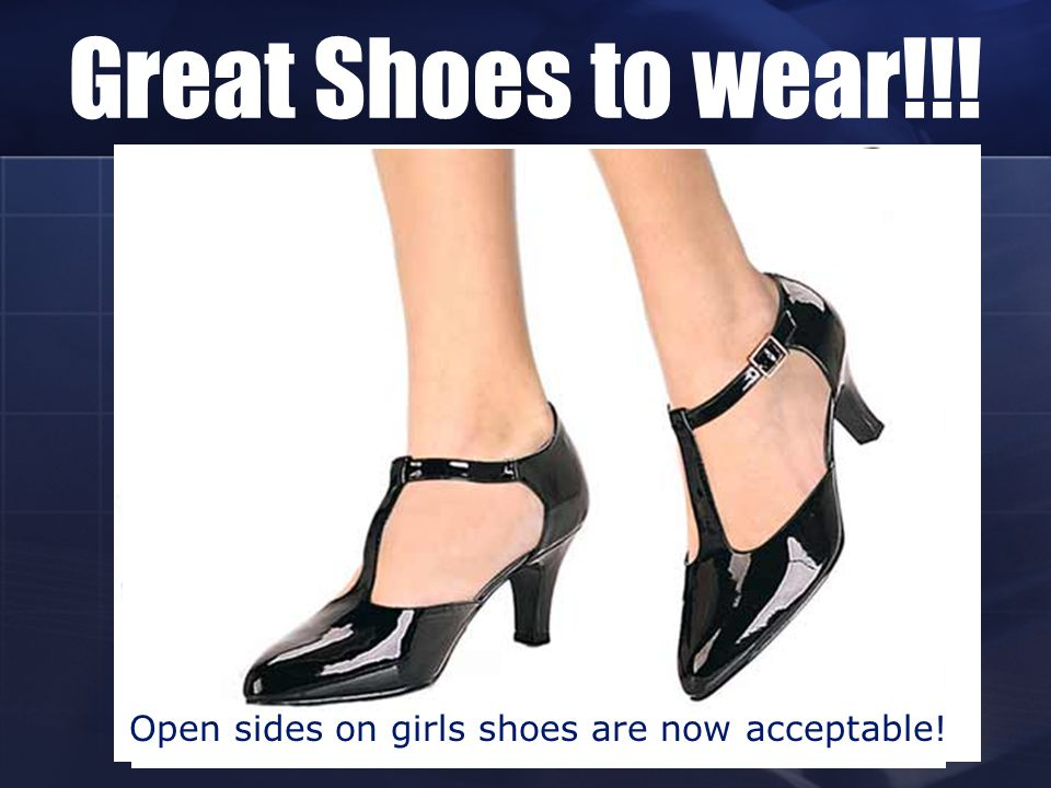 Open sides on girls shoes are now acceptable!