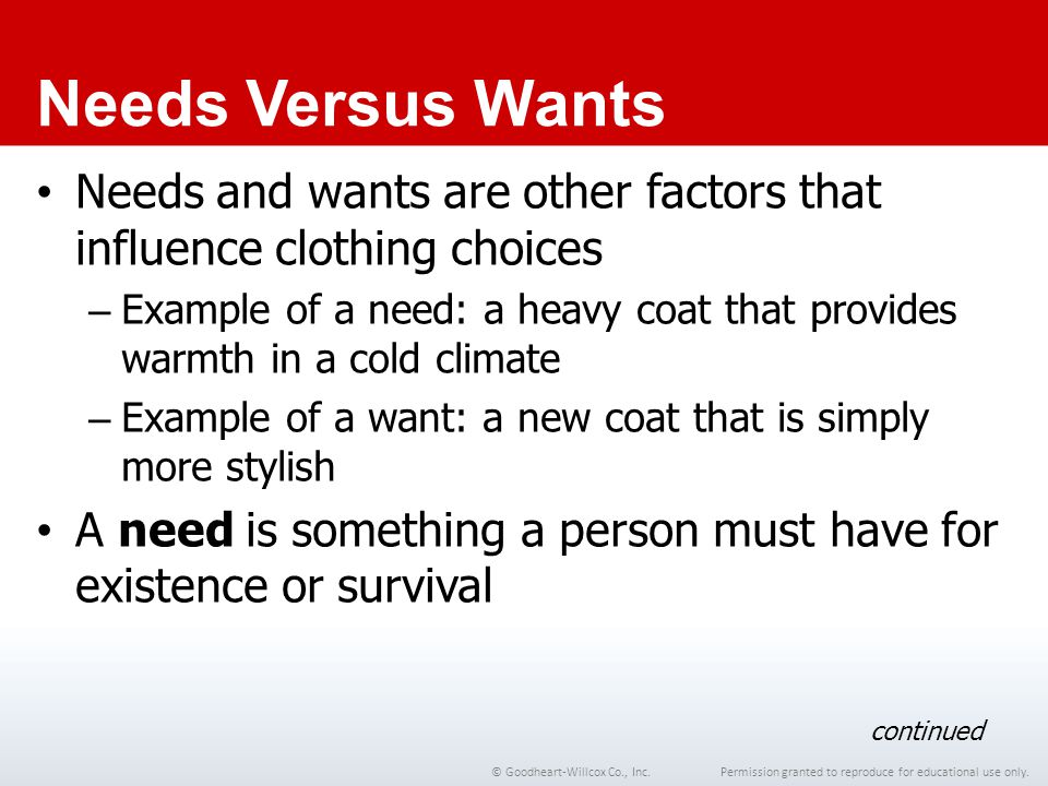 Chapter 1 Needs Versus Wants. Needs and wants are other factors that influence clothing choices.
