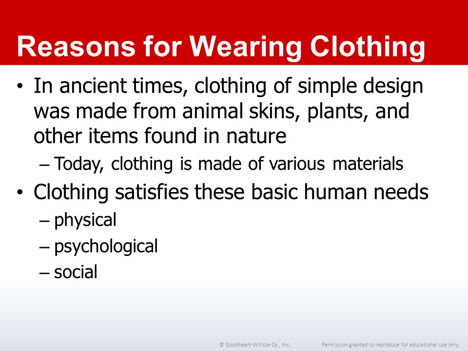 Reasons for Wearing Clothing